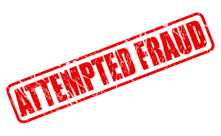 attempted: ATTEMPTED FRAUD red stamp text on white Stock Photo