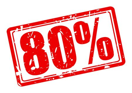80 percent red stamp text on white