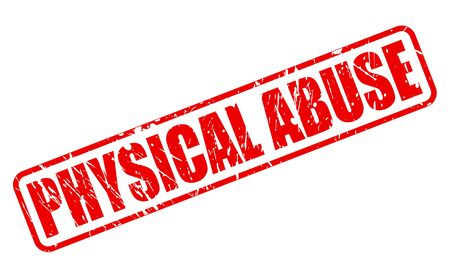 PHYSICAL ABUSE red stamp text on white Stock Photo