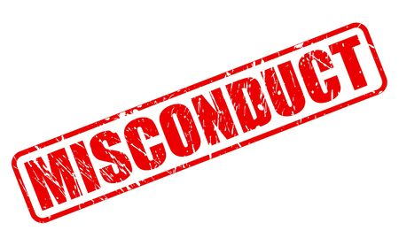 MISCONDUCT red stamp text on white