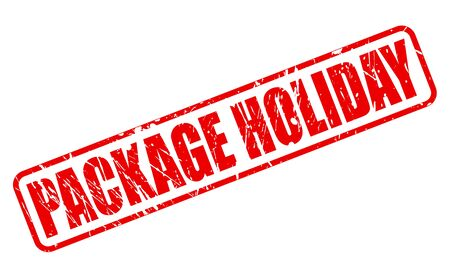 long weekend: PACKAGE HOLIDAY red stamp text on white