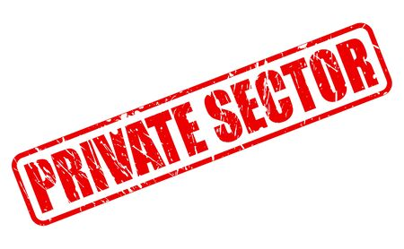 privatization: PRIVATE SECTOR red stamp text on white