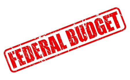 tax policy: FEDERAL BUDGET red stamp text on white Stock Photo