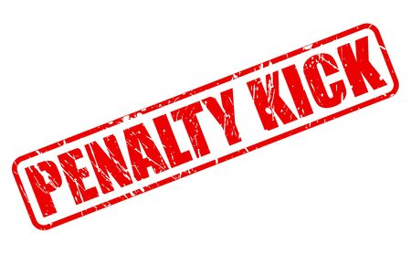scored: PENALTY KICK red stamp text on white Stock Photo
