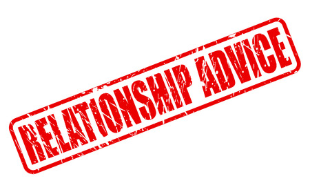 liaison: RELATIONSHIP ADVICE red stamp text on white