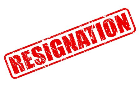 resignation: RESIGNATION red stamp text on white