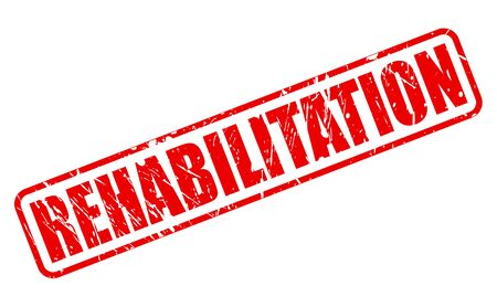 rehab: REHABILITATION red stamp text on white