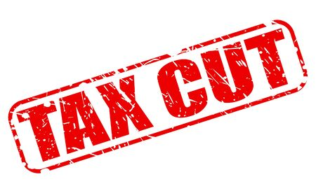 tax policy: TAX CUT red stamp text on white Stock Photo