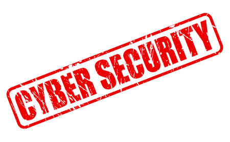 spy ware: CYBER SECURITY red stamp text on white Stock Photo