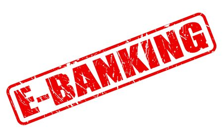 technology transaction: E-BANKING red stamp text on white