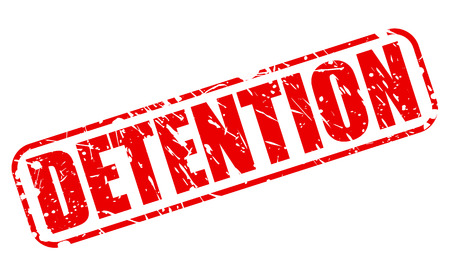 quarantine: DETENTION red stamp text on white Stock Photo