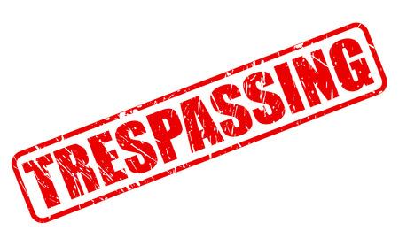 trespassing: TRESPASSING red stamp text on white