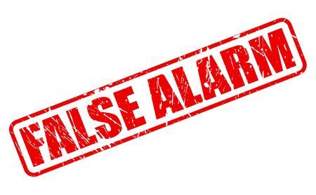 falso: FALSA ALARMA texto del sello rojo sobre blanco