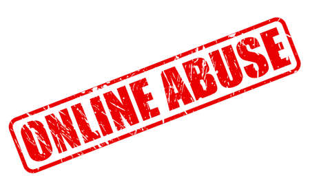 harass: ONLINE ABUSE red stamp text on white