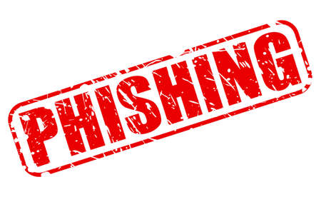 criminal activity: PHISHING red stamp text on white Stock Photo