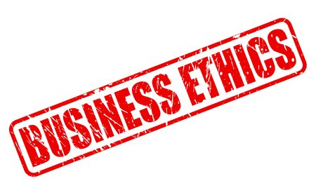 unethical: BUSINESS ETHICS red stamp text on white