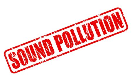 deafening: SOUND POLLUTION red stamp text on white Stock Photo