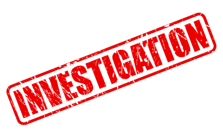 inquest: INVESTIGATION red stamp text on white
