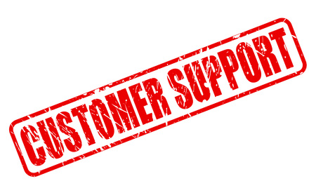 troubleshooting: CUSTOMER SUPPORT red stamp text on white Stock Photo