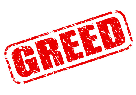 GREED red stamp text on white Stock Photo