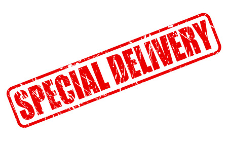 promising: SPECIAL DELIVERY red stamp text on white Stock Photo