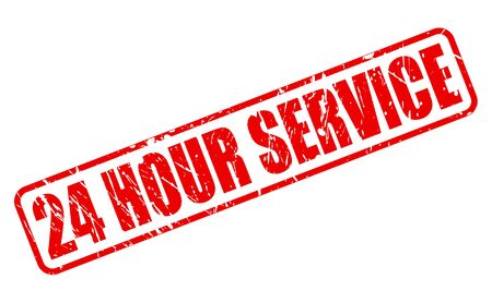 24 HOUR SERVICE red stamp text on white