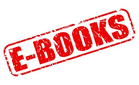 e new: E-BOOKS red stamp text on white Stock Photo