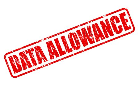 allowance: DATA ALLOWANCE red stamp text on white Stock Photo