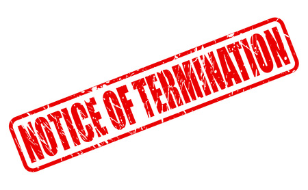 contractual: NOTICE OF TERMINATION red stamp text on white Stock Photo