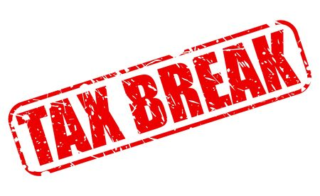 taxman: TAX BREAK red stamp text on white