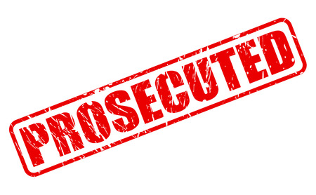 court proceedings: PROSECUTED red stamp text on white