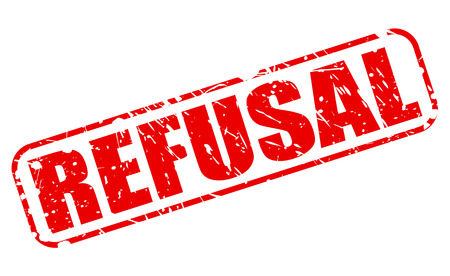 unaccepted: REFUSAL red stamp text on white Stock Photo