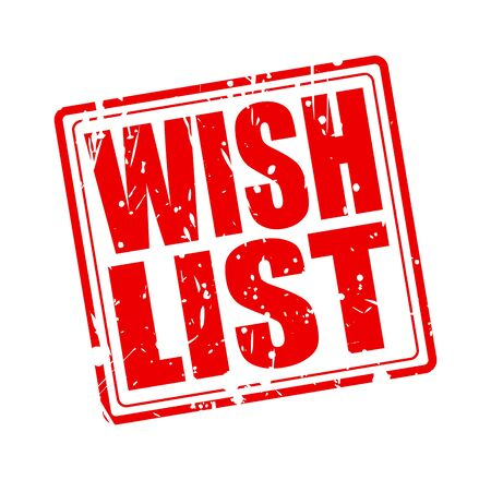 yearning: WISH LIST red stamp text on white Stock Photo