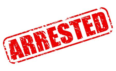 nicked: ARRESTED red stamp text on white Stock Photo