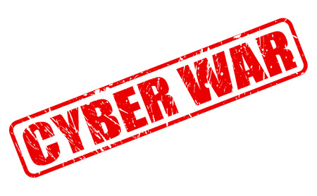 cyber war: CYBER WAR red stamp text on white