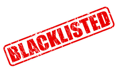 banish: BLACKLISTED red stamp text on white