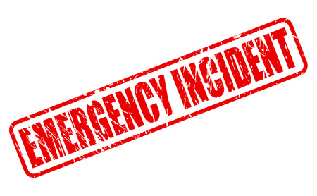 health threat: EMERGENCY INCIDENT red stamp text on white Stock Photo