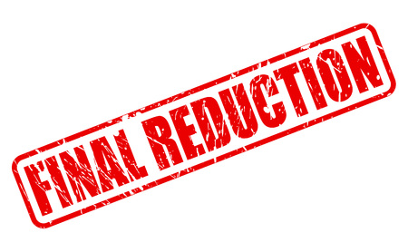 final: FINAL REDUCTION red stamp text on white