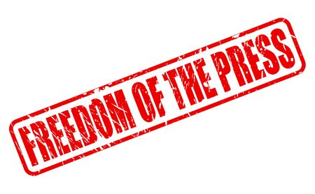 objectivity: FREEDOM OF THE PRESS red stamp text on white