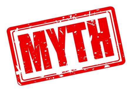 MYTHE texte de timbre rouge sur fond blanc