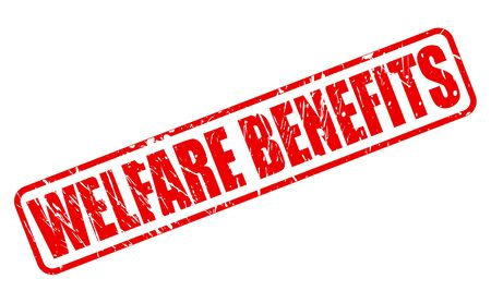 eligibility: WELFARE BENEFITS red stamp text on white