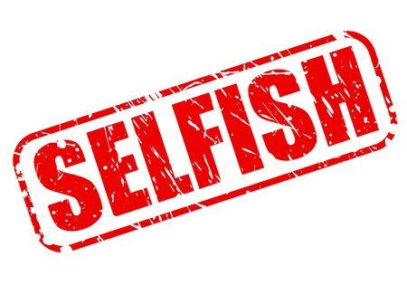 selfish: SELFISH red stamp text on white