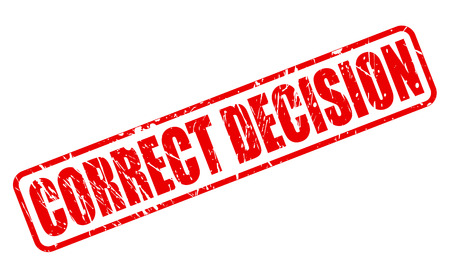 correct: CORRECT DECISION red stamp text on white Stock Photo
