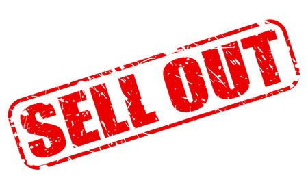 sell out: SELL OUT red stamp text on white