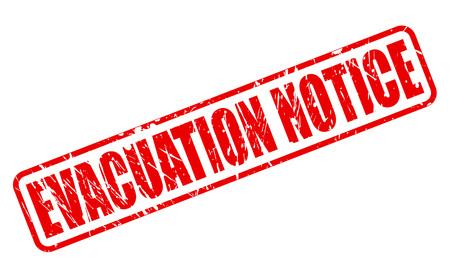 evacuation: AVISO DE EVACUACI�N texto del sello rojo sobre blanco Foto de archivo