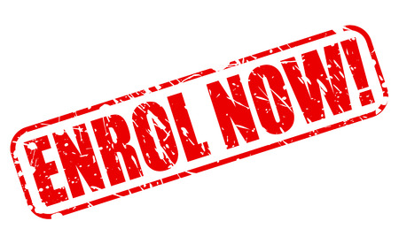 enlist: ENROL NOW red stamp text on white