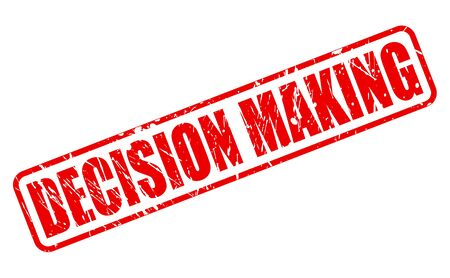make a call: DECISION MAKING red stamp text on white Stock Photo