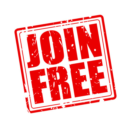 enlist: JOIN FREE red stamp text on white
