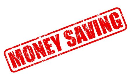 vesting: MONEY SAVING red stamp text on white Stock Photo