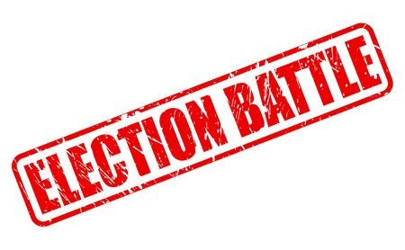 conservatives: ELECTION BATTLE red stamp text on white